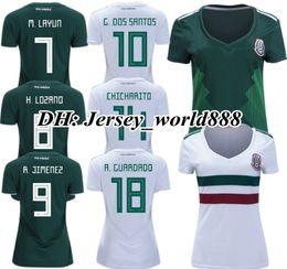 Wholesale ladies white uniform shirt - TOP QUALITY 2018 World Cup Mexico home green women soccer jersey feminin CHICHARITO M FABIAN G DOS SANTOS lady away football uniform shirt