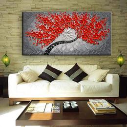 contemporâneo flores pinturas Desconto Grande Pinturas de Flores Vermelhas Pintados À Mão Arte Contemporânea Casa Parede Decorativa Pictures Pinturas A Óleo Floral na Arte Da Parede Da Lona