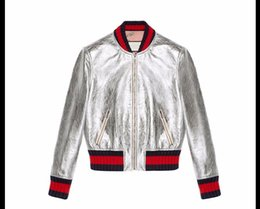 Wholesale Gold Bomber - 2018 New Bomber Jacket Women Baseball Jacket Fashion Top Quality Patch Color Leather Spring and Autumn Skin Coat for Women Coats S-2XL