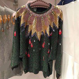 Grün pullover pullover online-Freie Verschiffen-dunkelgrüne Paillette-Kristallfrauen der Zoll-2018 Pfau-Stickerei-Mailand-Rollbahn-Pullover-Frauen 90737