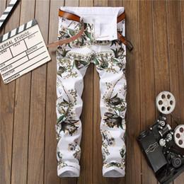 Wholesale Jeans Pattern Design - 2017 Famous Brand Designed High quality elasticity white jeans fashion Flower pattern Denim pants High street style men jeans