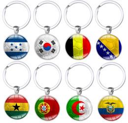 2019 banderas de portugal Copa Mundial de Fútbol Llavero de Metal Portugal Bélgica Corea Ecuador Ecuador Bandera de Ghana Llaveros Colgante de cristal Aficionados al fútbol Amor libre DHL G540R