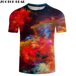wholesale galaxy shirts Promo Codes - Colorful Clouds Printed T-shirt Galaxy Space 3D Mens T-shirt Tees Summer Unisex Camisetas Tops Drop Ship