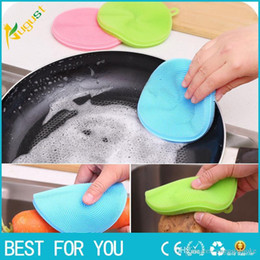 Wholesale Multifunction Cleaner - 12cm Magic Multifunction Silicone Dish Scrub Sponge Washing Cleaner Pad Tool for Kitchen