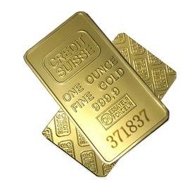 20pcs The CREDIT SUISSE 1oz Oro puro Plateado Bullion Bar Replica American souvenir coin regalo 50 x 28 mm número láser Envío gratis desde fabricantes