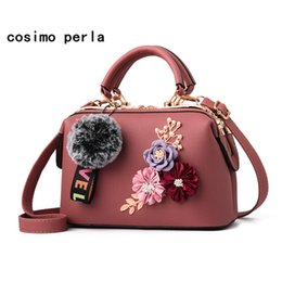 fc491217417 3D Handmade Flower Fashion Boston Handbags Women Solid PU Leather Shoulder  Bags with Fur Ball Luxury Designer Causal Tote Female