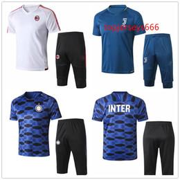 Wholesale football milan ac - New Style Inter soccer tracksuit Short sleeve 3 4 pants 2018 summer shirts AC ICARDI SKRINIAR DYBALA MARCHISIO Milan football training suit