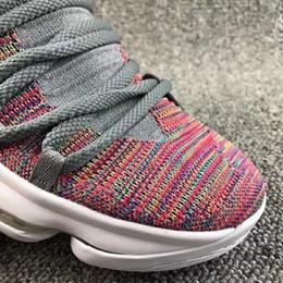 Wholesale Kd Shoes Sale - Mens KD 10 Multi-Color Basketball Shoes For Sale Multi-Color Black-Cool Grey-White