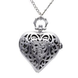 старинные часы Скидка Унисекс Карманные Часы Цепи Кварц Старинные Серебряные Сердца Кулон