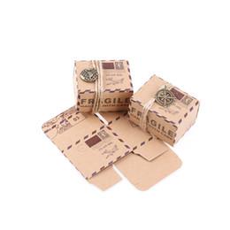 Wholesale Kraft Candy Bag - 50PCS set Stamp Design Gift Box Candy Box Wedding Vintage Chocolate Packaging Kraft Wedding Favors Gifts Bag Party Supplies