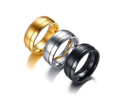 Wholesale Titanium Wedding Rings For Couple - Wedding Ring 8mm brushed strip black gold titanium Ring for Women Men comfort fit hot sale in USA and Europe size 9-12