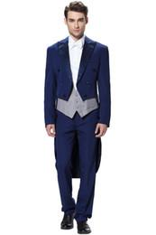 Canada 2019 Nouvelle arrivée bleu marine Tuxedo hommes trois pièces 2018 nouveau costume de mariage Tailcoat Tuxedo pantalons costumes pour hommes costumes pour mariage Offre