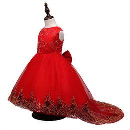 Wholesale childrens ball dresses - Spring Summer new 2018 Girls Dresses sequin floral Childrens Princess Dresses Party Dress Girls Long Dress Pageant wedding Dresses A1567