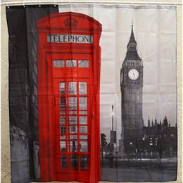 tissu religieux Promotion Promotion 1 Pcs 180 * 180 cm3D Polyester Imperméable Rideau De Douche Londres Big Ben Patte Avec 12 Crochets En Plastique Accueil Salle De Bains Rideaux
