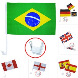 Wholesale car side windows - 30*45cm Banner Flags 2018 Football Soccer 32 Country Car Flag Double Side Polyester Car Window Clip Advertising Flag HH7-967