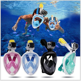 Kamera zum tauchen online-4-Farben-Sommer Tauchen Maske Schnorchel Set Schwimmtraining Scuba mergulho volles Gesicht Schnorchelmaske Anti-Fog Keine Kameraständer S