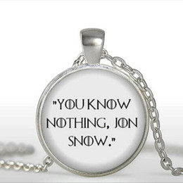 Wholesale Quotes Books - Game of Thrones Necklace You know nothing Jon Snow Book Jewelry Quote Necklaces Pendant Glass Dome Pendant Necklace A-098-1 HZ1