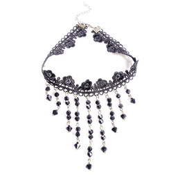 gothic vampire necklace Coupons - Women Fashion Vintage Gothic Punk Crystal Choker Necklace Black Tassel Vampire Steampunk Jewellery