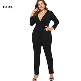 b8279025cf7c TUHAO 2018 Autumn Plus Size 4XL 3XL Big Women s Jumpsuit Overalls Solid  Sexy Jumpsuits Large Size Macacao Long Pant LMTL
