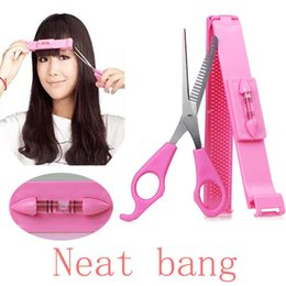 Wholesale Hair Fringe Styles - 2pcs set Fringe Bangs Hair Cutter DIY Guide Layers Thinning Cutting Comb Trimmer Styling Tools Clipper
