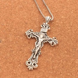 Wholesale large gold pendant necklace - Antique Silver Traditional Large Crucifix Pendant Necklaces Cross Medallion Necklace N1656 24inches Necklaces & Pendants Hot sell