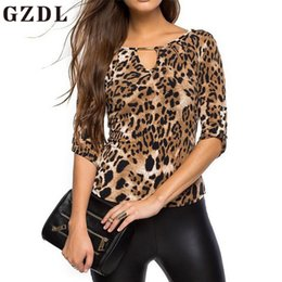 Wholesale ladies party blouses - Casual Women Leopard Party Blouses 3 4 Sleeve O Neck Slim Fitness Fashion Spring Summer Ladies Tops Blusas Stylish CL3728