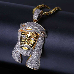 Wholesale Brass Jesus - Hip Hop Iced Out All CZ Stone Gold Plated Jesus Mask Pendant Necklace with Rope Chains Bling Jewelry Gift for Mom