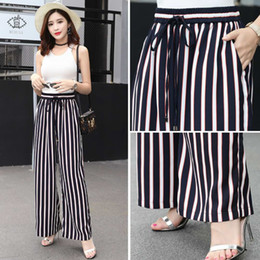 Wholesale elegant high waist trousers - 2018 Loose Trousers Women Trousers Elegant Brand Womens Trousers Vertical Striped High Waist Wide Leg Pants