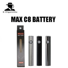 Wholesale Usb Charging Voltage - Max C8 Preheating VV Battery 650mAh Adjustable Voltage Preheat Battery 510 Thread Bottom USB Charging Bud Battery DHL free shipping