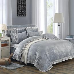 Wholesale White Queen Bedding Ruffle - Fleece fabric warm Bedding set grey luxury Embossing duvet cover set King Queen Twin ruffles bedskirt bedline funda nordica