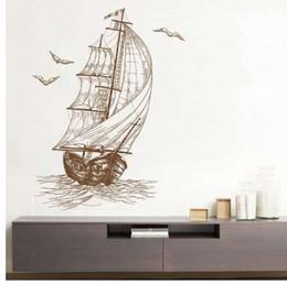 Vela barco diy on-line-Casa arte decoração diy oceano gaivota barco de vela adesivo de parede crianças quarto do berçário do bebê quarto pvc arte parede decalques ing