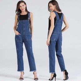 c403303d6954 2018 Autumn European Style Women Denim Overalls Pocket Adjustable Strap  Romper High Waist Jumpsuit Female Girl Loose Jeans Pants