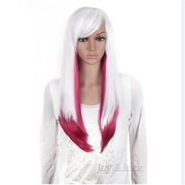 Peluca blanca larga recta completa online-Envío gratis blanco y oscuro rosado largo recto de la señora peluca sintética del pelo peluca llena Cosplay peluca de regalo libre peluca Cap