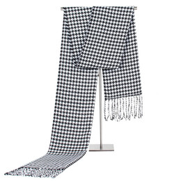 Wholesale Men Houndstooth Scarf - 2017New Men Gentleman Classic Houndstooth Scarves Boys Male Fashion Black White Autumn Winter Warm Scarf Shawl Wrap Neckerchief