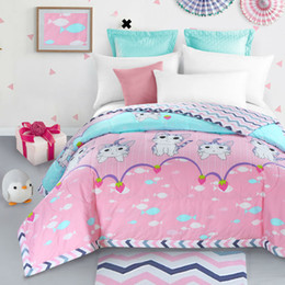 Wholesale King Cotton Comforter - Wholesale- 100% cotton lovely cat pink summer quilt 150*200cm 200*230cm thin comforter bedding