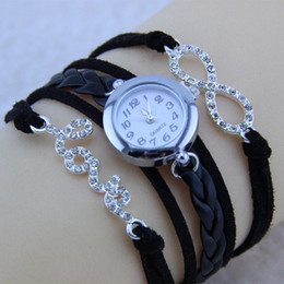 Wholesale High End Mens Watches - High End Fashion Jewelry Mens Leather Rope Watch Bracelets Free Shipping AW-S-1016