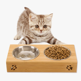 Wholesale Bowl Feeders Stainless - pet dog bowl bamboo stainless steel double food water teddy dog feeder cat bowl pet food bowls Dual-use Feeding Dish