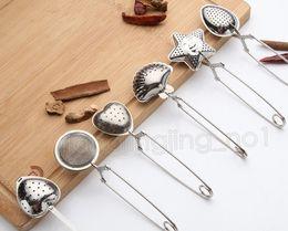 cucharas para el té Rebajas 6 estilos Acero inoxidable Colador de té Cuchara de té Condimento Infusor Cáscara de estrella Óvalo redondo Forma de corazón Colador Teaware DDA606