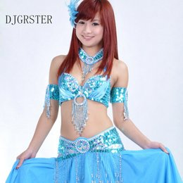 a50a5f5272 DJGRSTER Stage Performance Oriental bellydance costumes professional  3pieces Suit Bead Bra