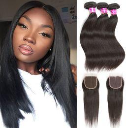 Extensiones de cabello humano negro de las mujeres online-Malasia Straight Virgin Hair Bundles Extensions 10A cabello humano virgen recta sin procesar 3 paquetes con 4x4 Lace closure para mujeres negras