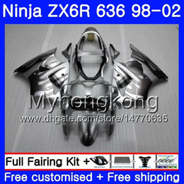 kawasaki zx 6r 1998 verkleidung Rabatt Gehäuse für KAWASAKI NINJA ZX-636 ZX-6R 1998 1999 2000 2001 2002 212HM.73 ZX600 600CC ZX636 ZX 6R ZX6R Graue Flammen 98 98 00 01 02