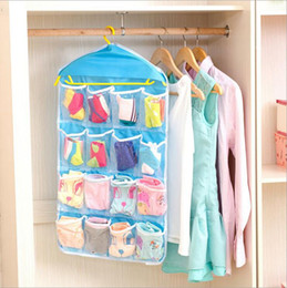 Wholesale Hanging Sock Organizer - Socks Underpants Sorting Bags Foldable Wardrobe Hanging Bags Clothing Briefs Organizer Wall Hanging Storage Bags 16 Pockets 4 Colors YW592