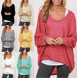 Wholesale Baggy Sweats - Women Long Sleeve Irregular T-shirt Pullover Sweat Shirts Loose Baggy Jumper Tops Batwing Knitted Loose Blouse T Shirt 8 Colors OOA3860