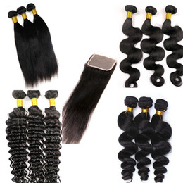 Wholesale pure european - Virgin Brazilian Hair Bundles Weaves With Lace Closure Straight Body Wave Human Hair Wefts 100% Unprocessed Mink Human Hair Extensions