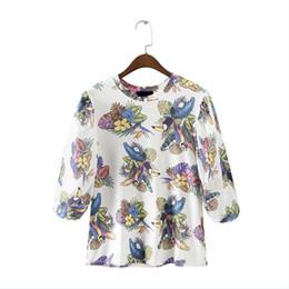 Wholesale Flower Blouse Puff Sleeves - 2018 new fashion women vintage flower print kimono shirt puff sleeve o neck pullover blouse femininas casual loose blusas LS1999