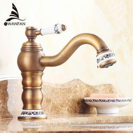 Wholesale antique sink water taps - Basin Faucets Antique Brass Bathroom Sink Faucet Single Handle 360 Rotate High Spout Deck Mount Mixer Water Taps Taps JCS-5868F