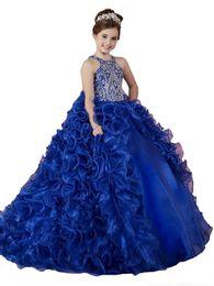 2019 joelho comprimento vestidos para adolescentes Luxo azul royal 2018 meninas pageant vestidos de organza babados contas de cristal princesa ball vestidos de festa de casamento para a menina de flor do casamento vestidos
