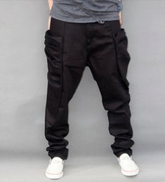 Wholesale winter harem - Autumn Winter Trousers Big Size New Fashion Casual Jeans Mens Joggers Loose Pants Pockets Hip Hop Harem Black