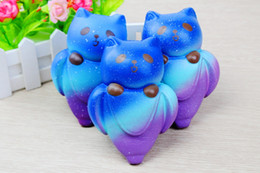 Wholesale Banana Phones - 2018 New Kawaii Starry Sky Bear Squishy Banana Slow Rising Super Soft Jumbo Squeeze Scented Stress Reliever Phone Straps