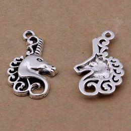 Encantos de unicornio online-100 Unids Unicorn Charms Antique Tibetan Silver Unicorn Charms colgantes 15x26mm Charms Colgantes Joyería Hallazgos Componentes En stock